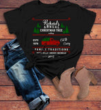 Women's Personalized Christmas T Shirt Christmas Tree Shirts Cutting Cut Family Matching Shirts-Shirts By Sarah