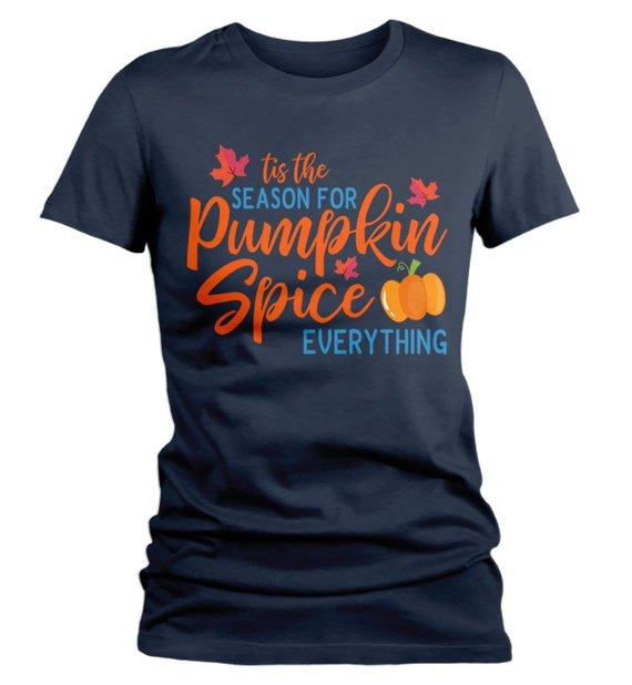 Women's Pumpkin Spice T Shirt Tis Season Pumpkin Everything Shirts Tee Seasonal Fall Shirts-Shirts By Sarah