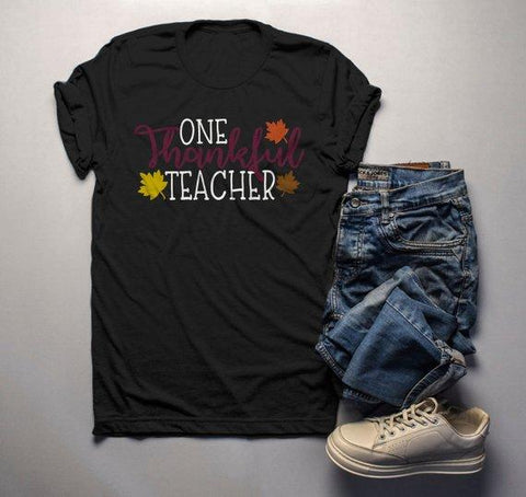 Men's Thanksgiving Teacher T Shirt One Thankful Teacher Graphic Tee Fall Shirts Teachers-Shirts By Sarah