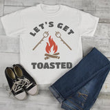 Kids Funny Bonfire T Shirt Let's Get Toasted Marshmallow Graphic Tee Camping Shirts Boy's Girl's Toddler-Shirts By Sarah