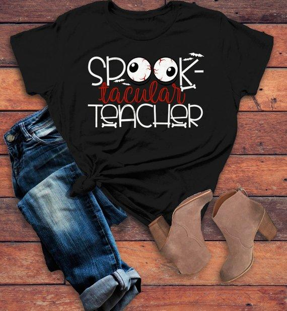 Women's Halloween Teacher T Shirt Spooktacular Teacher Graphic Tee Fall Shirts Spooky-Shirts By Sarah