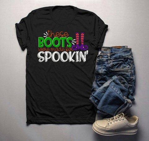 Men's Funny Halloween T Shirt Boots Made For Spookin' Witch Shirts Halloween Tee-Shirts By Sarah