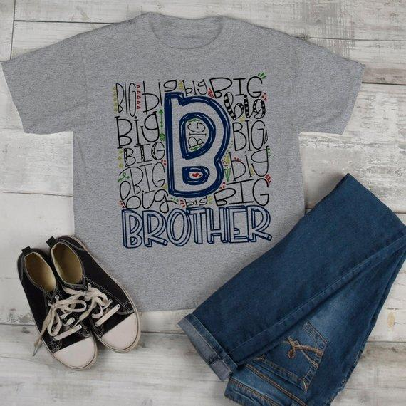 Boy's Big Brother T Shirt Typography Tee Matching Sibling Shirts Cute Tees Baby Announcement Shirt-Shirts By Sarah