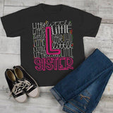 Girl's Little Sister T Shirt Typography Tee Matching Sibling Shirts Cute Tees-Shirts By Sarah