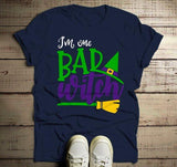 Men's Funny Halloween T Shirt I'm One Bad Witch Tee Hat Broom Witches Shirts-Shirts By Sarah