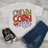 Girl's Cute Halloween T Shirt Candy Corn Cutie Toddler Shirts Adorable Halloween Tee-Shirts By Sarah
