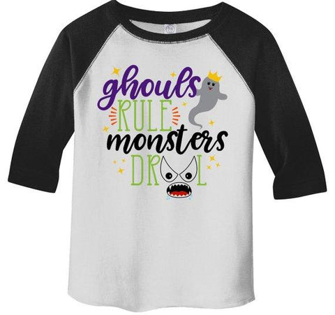 Girl's Funny Halloween Shirt Ghouls Rule Monsters Drool Toddler Shirts Adorable Halloween Top 3/4 Sleeve Raglan-Shirts By Sarah