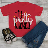 Kids Funny Halloween T Shirt Boo Pretty Wicked Pitchfork Halloween Shirts Ghost-Shirts By Sarah