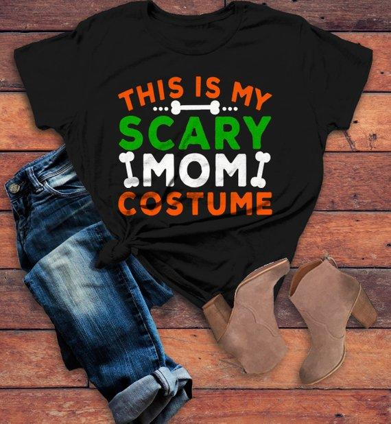 ca5971a8 Women's Funny Halloween T Shirt This Is My Scary Mom Costume Tee Bones Mom  Shirts-