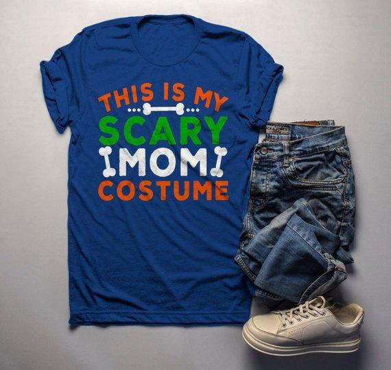 Men's Funny Halloween T Shirt This Is My Scary Mom Costume Tee Bones Mom Shirts-Shirts By Sarah