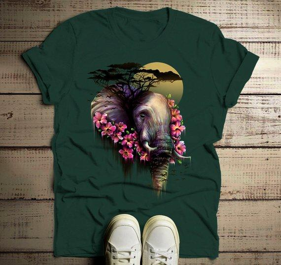 Men's Elephant T Shirt Hand Drawn Pachyderm Beautiful Shirts Flowers Graphic Tee Illustration-Shirts By Sarah