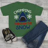 Kids Funny Shark T Shirt Chomping Through Snow Graphic Tee Winter Shirts Toddler Christmas-Shirts By Sarah