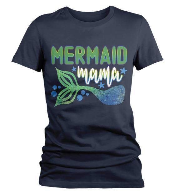 Women's Mermaid T Shirt Mama Shirts MerMama Tee Mermaid Mother TShirt-Shirts By Sarah