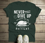 Men's Funny Thanksgiving T Shirt Never Give Up Leftovers Vintage Graphic Tee Turkey Day-Shirts By Sarah