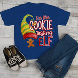 Kids Funny Elf T Shirt Cookie Tasting Matching Christmas Shirts Graphic Tee Watercolor Toddler Tee Boy's Girl's-Shirts By Sarah