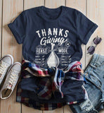 Women's Funny Thanksgiving T Shirt Feast Mode Checklist Vintage Graphic Tee Happy Turkey Day-Shirts By Sarah