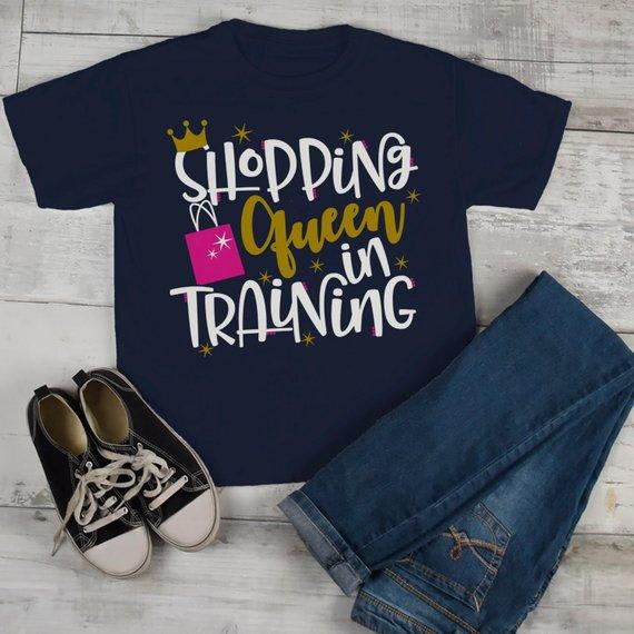 Girl's Matching Mommy Me Shopping T Shirt Black Friday Shirts Shopping Queen Training Tee-Shirts By Sarah