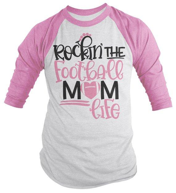 Men's Football Mom Raglan 3/4 Sleeve Rockin The Football Mom Life Game Day Shirts-Shirts By Sarah