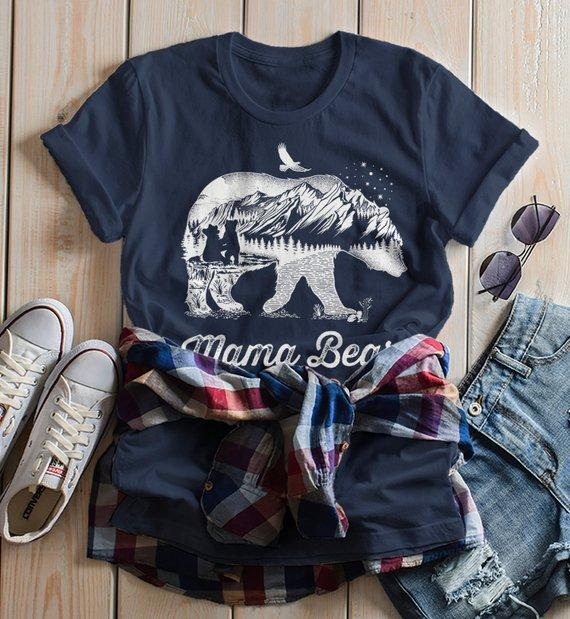 Women's Mama Bear T Shirt Mom T Shirts Hipster Double Exposure Camping Shirts-Shirts By Sarah