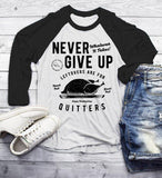 Men's Funny Thanksgiving T Shirt Never Give Up Leftovers Vintage Graphic Tee Turkey Day 3/4 Sleeve Raglan-Shirts By Sarah