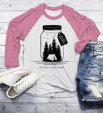 Men's Camping T Shirt Mason Jar Graphic Tee Collect Moments Hipster Shirts Tent TShirt Camper 3/4 Sleeve Raglan-Shirts By Sarah