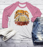 Men's Happy Camper T Shirt Fall Camping Camp Tent Illustration Forest Graphic Tee 3/4 Sleeve Raglan-Shirts By Sarah