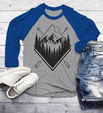 Men's Forest Hipster T-Shirt Nature Shirt Mountains Trees Stars Camping Tees 3/4 Sleeve Raglan-Shirts By Sarah