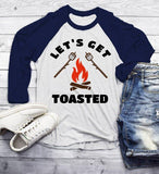 Men's Funny Bonfire T Shirt Let's Get Toasted Marshmallow Graphic Tee Camping Shirts 3/4 Sleeve Raglan-Shirts By Sarah