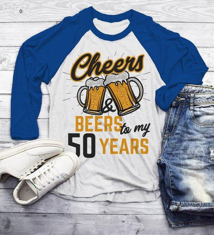 Mens Funny 50th Birthday T Shirt Cheers Beers Fifty Years TShirt Gift Idea Graphic Tee Beer