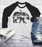 Men's Hipster T Shirt Bear Shirts Camping TShirt Double Exposure Mountains Nature Shirts 3/4 Sleeve Raglan-Shirts By Sarah