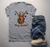 Men's Christmas Shirt Christmas Outfit Christmas Wreath Cute Deer Merry Christmas Graphic Tee-Shirts By Sarah