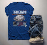 Men's Vintage Thanksgiving T Shirt Poster Style Menu Feast Dinner Shirts Graphic Tee-Shirts By Sarah