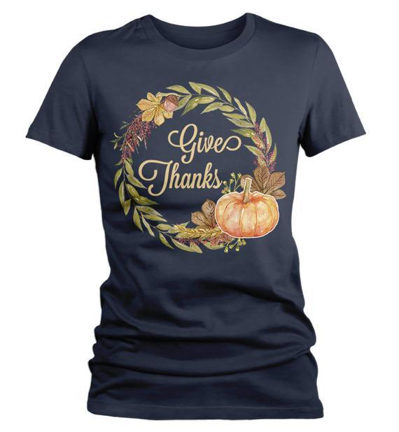 Women's Give Thanks T Shirt Fall Wreath Shirts Thanksgiving Graphic Tee Pumpkin Watercolor Illustration-Shirts By Sarah