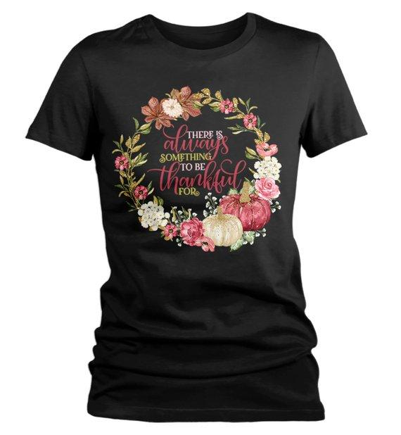 Women's Always Thankful T Shirt Fall Wreath Shirts Thanksgiving Graphic Tee Watercolor Pumpkin-Shirts By Sarah