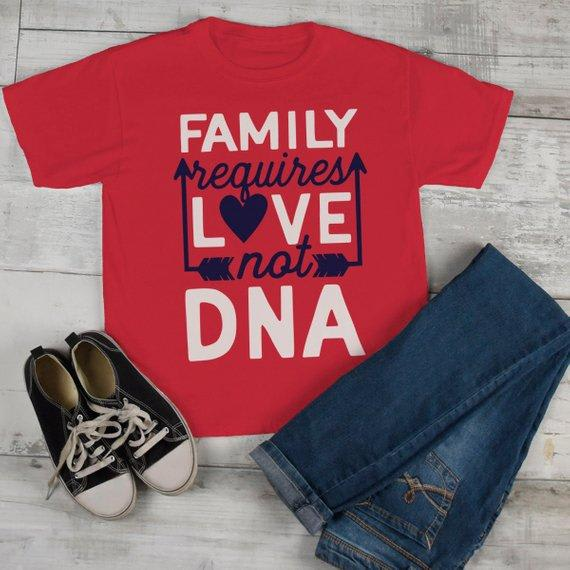 Kids Family T Shirt Requires Love Not DNA Blended Family Shirts Step Brother Step Sister Adoption Tee Toddler Boy's Girl's-Shirts By Sarah