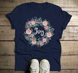 Men's Christmas Wreath Shirt Joy Shirts Beautiful Wreath T Shirt Xmas Outfit Watercolor Graphic Tee-Shirts By Sarah