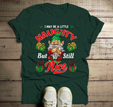 Men's Funny Elf Shirt Christmas Shirts Little Naughty But Nice TShirt Christmas Outfit Idea Cute Fun Graphic Tee-Shirts By Sarah