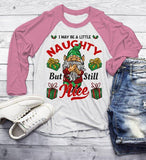 Men's Funny Elf Shirt Christmas Shirts Little Naughty But Nice TShirt Christmas Outfit Idea Cute Fun Graphic Tee 3/4 Sleeve Raglan-Shirts By Sarah