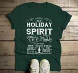 Men's Funny Holiday Spirit T Shirt Drinking Vodka Hilarious Christmas Shirt Gin Rum Vintage Tee-Shirts By Sarah