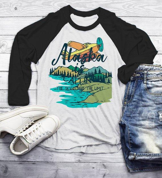 Men's Alaska Shirt Vintage Shirts Calling Sky Not Limit Travel Graphic Tee Hipster Shirts 3/4 Sleeve Raglan-Shirts By Sarah
