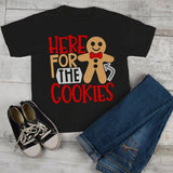 Kids Christmas T Shirt Here For Cookies Xmas Shirts Cute Graphic Tee Cookie Shirts Outfit Boy's Girl's Toddler-Shirts By Sarah