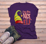 Men's Funny Elf T Shirt Nice Matching Christmas Shirts Graphic Tee Watercolor Elves-Shirts By Sarah