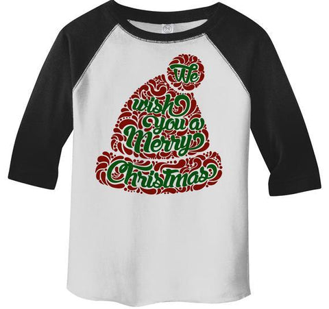 Kids Wish You Merry Christmas Winter Hat T-Shirt Xmas Shirts Hipster Graphic Tee Toddler Boy's Girl's 3/4 Sleeve Raglan-Shirts By Sarah