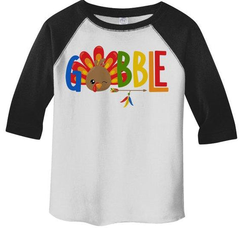 Kids Gobble T Shirt Turkey Shirts Gobble Tee Arrow Feathers Cute Thanksgiving TShirt Boy's Girl's Toddler 3/4 Sleeve Raglan-Shirts By Sarah