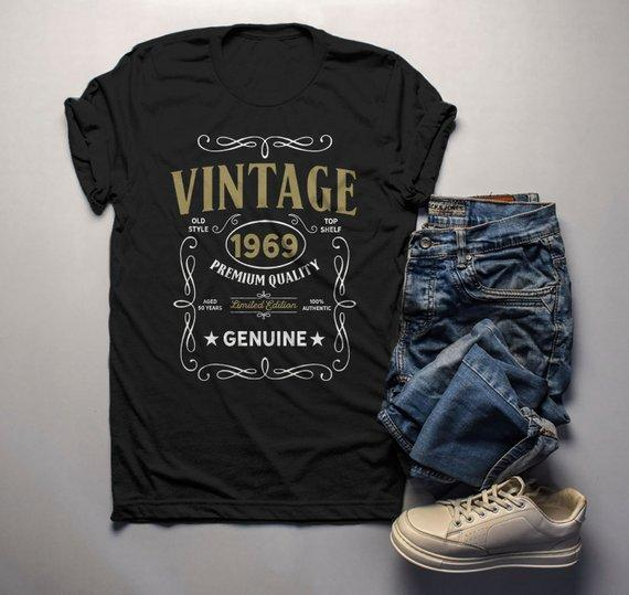 Mens Vintage 1969 50th Birthday T Shirt Classic Fifty Gift Idea Shirts