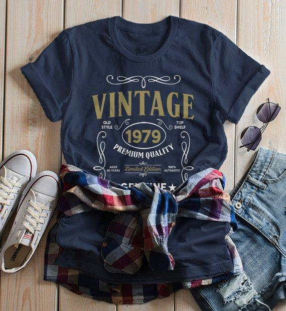 Women's Vintage 1979 40th Birthday T-Shirt Classic Forty Shirt Gift Idea 40th Birthday Shirts Vintage Tee Vintage Shirt-Shirts By Sarah