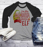 Men's Funny Elf T Shirt Gangsta Wrapper Matching Christmas Shirts Graphic Tee 3/4 Sleeve Raglan-Shirts By Sarah
