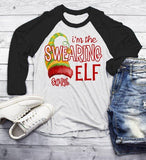 Men's Funny Elf T Shirt Swearing Elf Hilarious Graphic Tee Matching Christmas Shirts 3/4 Sleeve Raglan-Shirts By Sarah