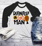 Men's Funny Leg Man T Shirt Thanksgiving Shirts Turkey TShirt Hilarious Leg Graphic Tee 3/4 Sleeve Raglan-Shirts By Sarah