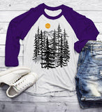 Men's Forest T Shirt Hand Drawn Shirts Deer Woods Hipster Camping Explore Graphic Tee 3/4 Sleeve Raglan-Shirts By Sarah